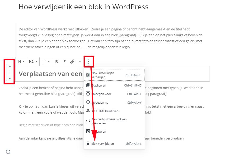 blok verwijderen WordPress