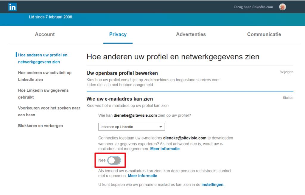 emailadres verbergen LinkedIn